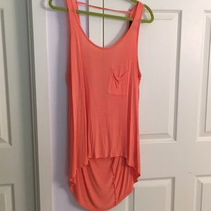 Orange high-low tank with scooped back